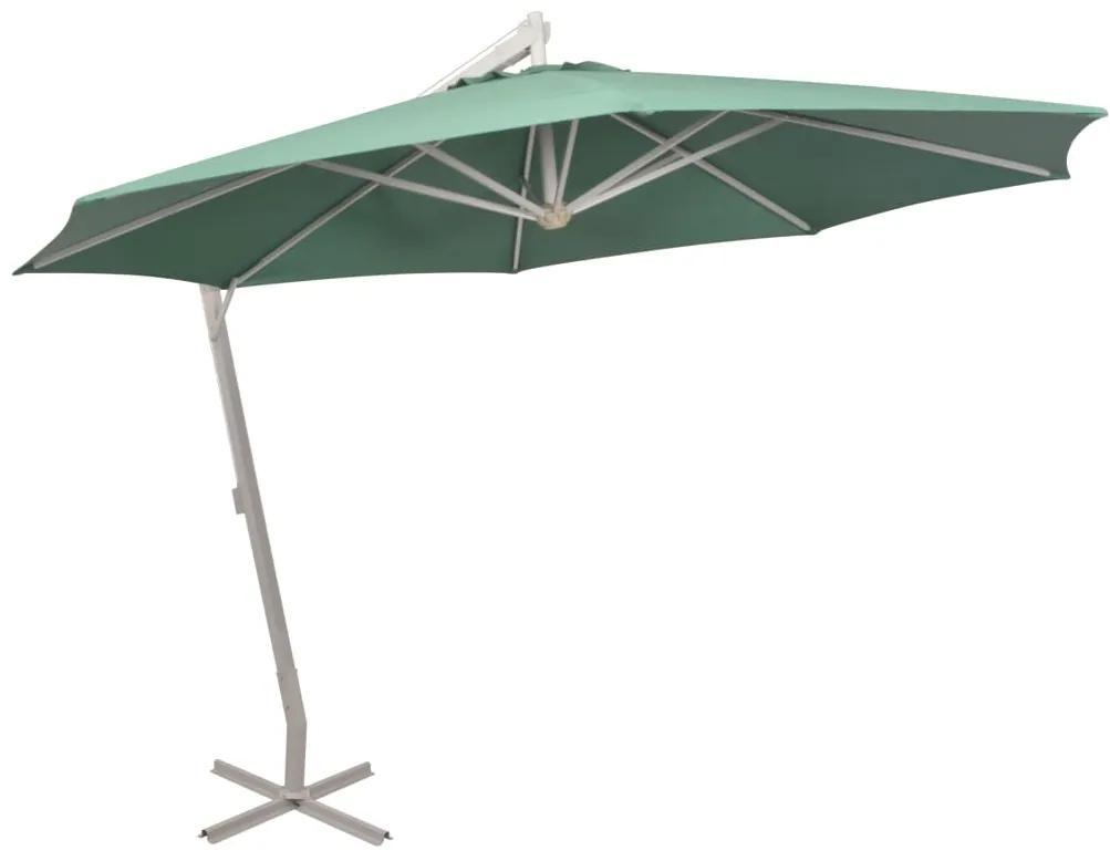 Umbrelă de soare suspendată 350 cm, stâlp de aluminiu, verde