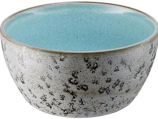 Bol Ceramic Gri cu Interior Albastru Deschis - Ceramica Gri Inaltime( 6 cm) x Diametru( 12 cm)