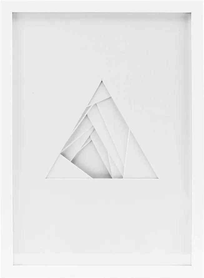 Tablou cu Forme in Relief Triangle Shapes - MDF Alb Lungime(46 cm) x Latime(33.7 cm)