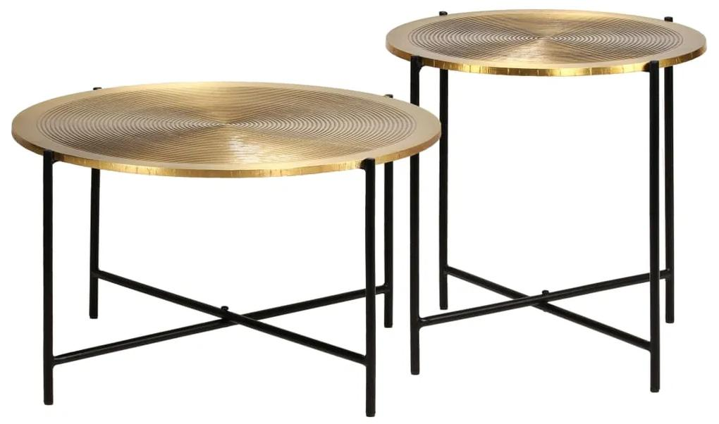 246285 vidaXL Set de masă, 2 piese, MDF cu alamă
