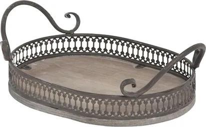 Tava ovala Romance din lemn si metal 27x18x9 cm