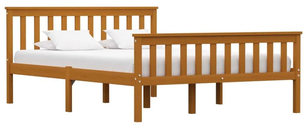 283241 vidaXL Cadru de pat, maro miere, 140 x 200 cm, lemn masiv de pin