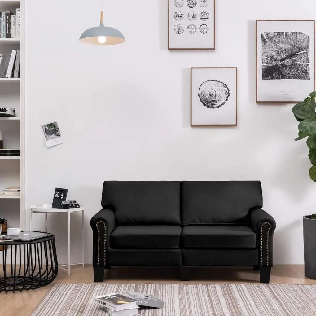Canapea cu 2 locuri, negru, material textil