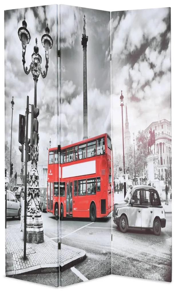 245873 vidaXL Paravan cameră pliabil, 120x170 cm, autobuz londonez, negru/alb