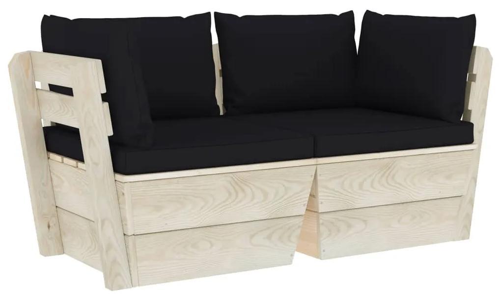 3063391 vidaXL Canapea grădină din paleți, 2 locuri, cu perne, lemn de molid