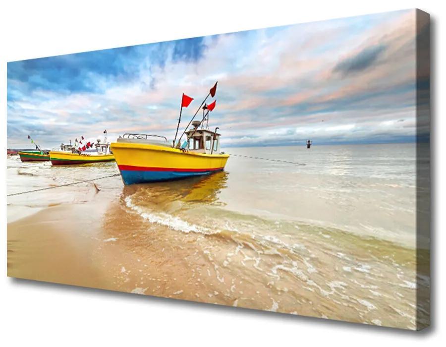 Tablou pe panza canvas Ambarcațiuni Sea Beach Peisaj Brun Verde Roșu Albastru