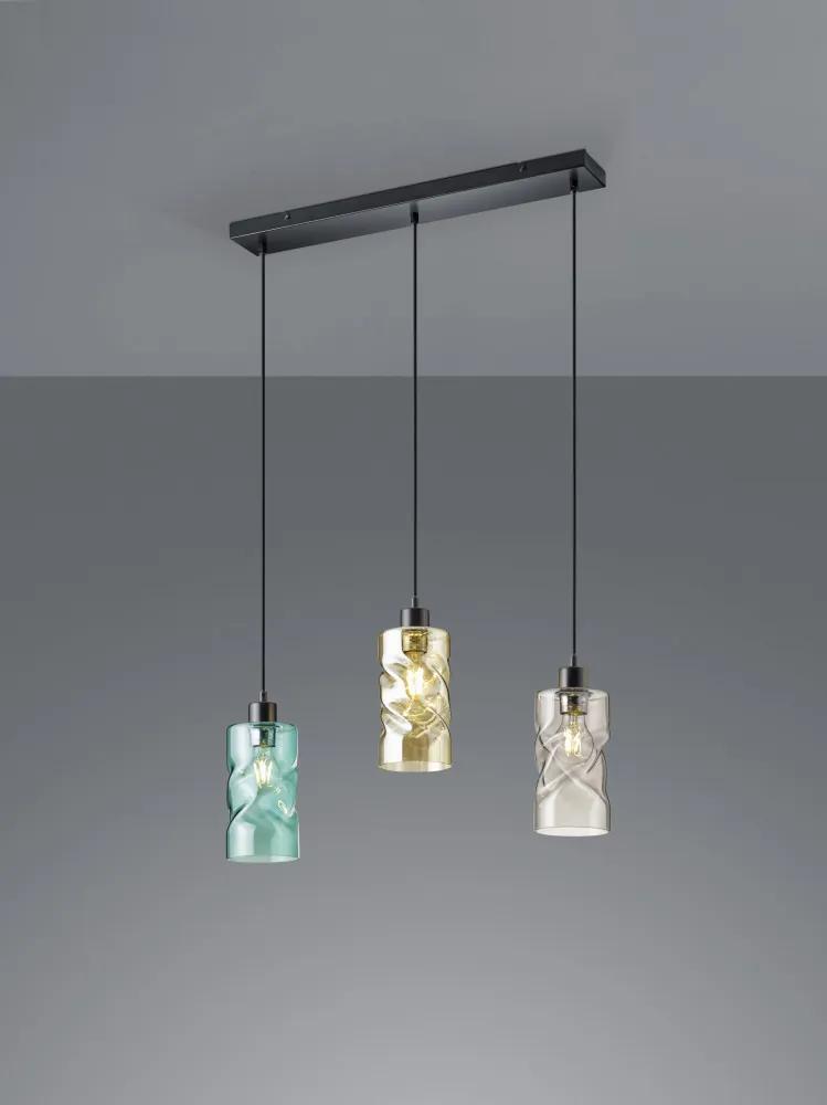 Trio SWIRL R30533017 Pendule cu mai multe brate negru mat excl. 3 x E27 ↔ 60cm/ ↕ 150cm
