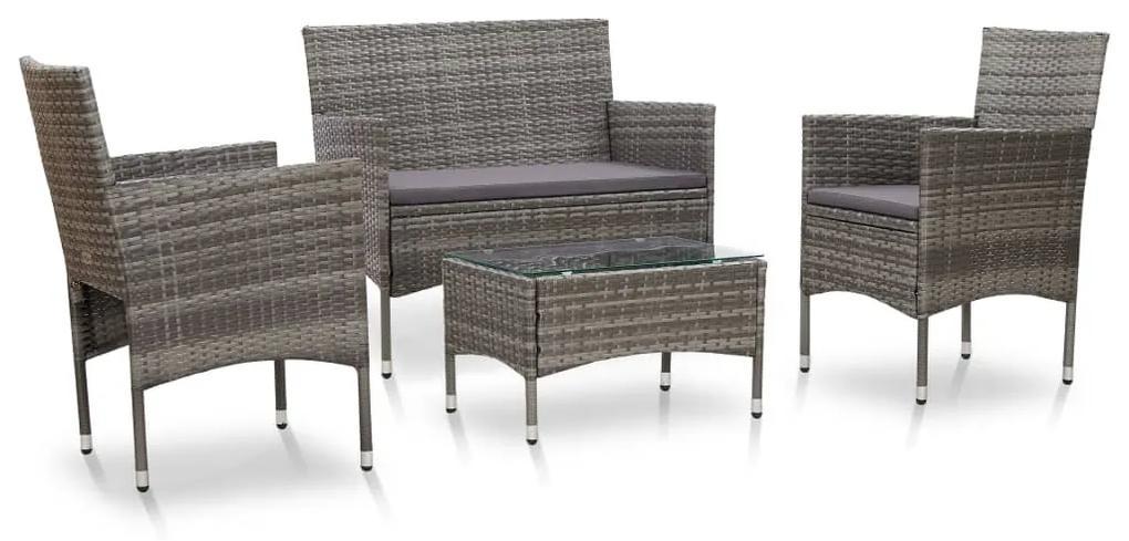 45812 vidaXL Set mobilier de grădină cu perne, 4 piese, gri, poliratan