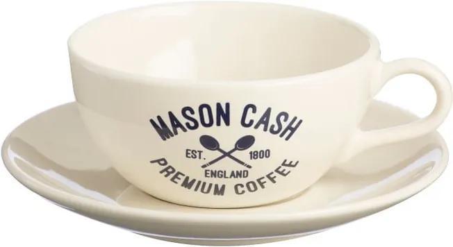 Ceașcă cu farfurie Mason Cash Varsity Cappuccino, alb