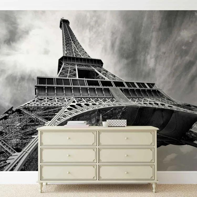 Paris Eiffel Tower Black White Fototapet, (312 x 219 cm)