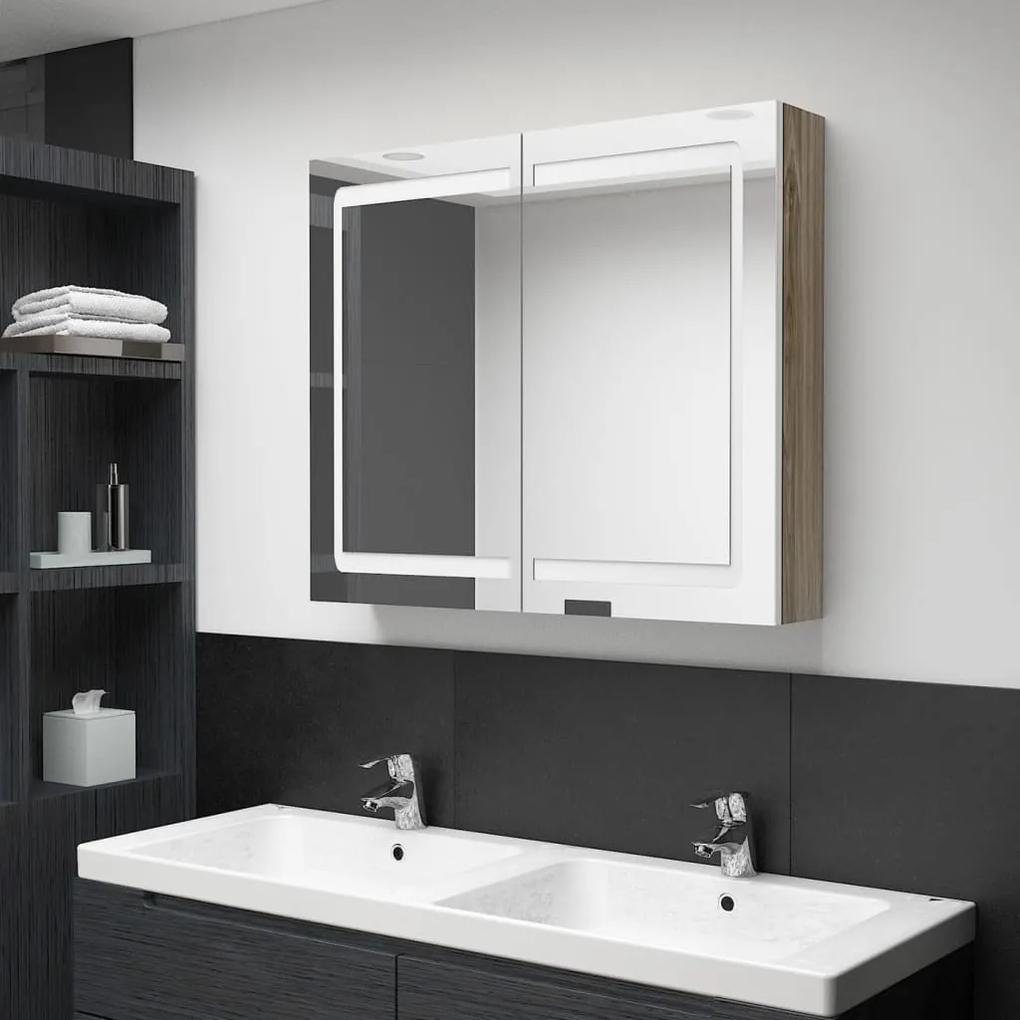 326516 vidaXL Dulap de baie cu oglindă și LED, alb și stejar, 80x12x68 cm