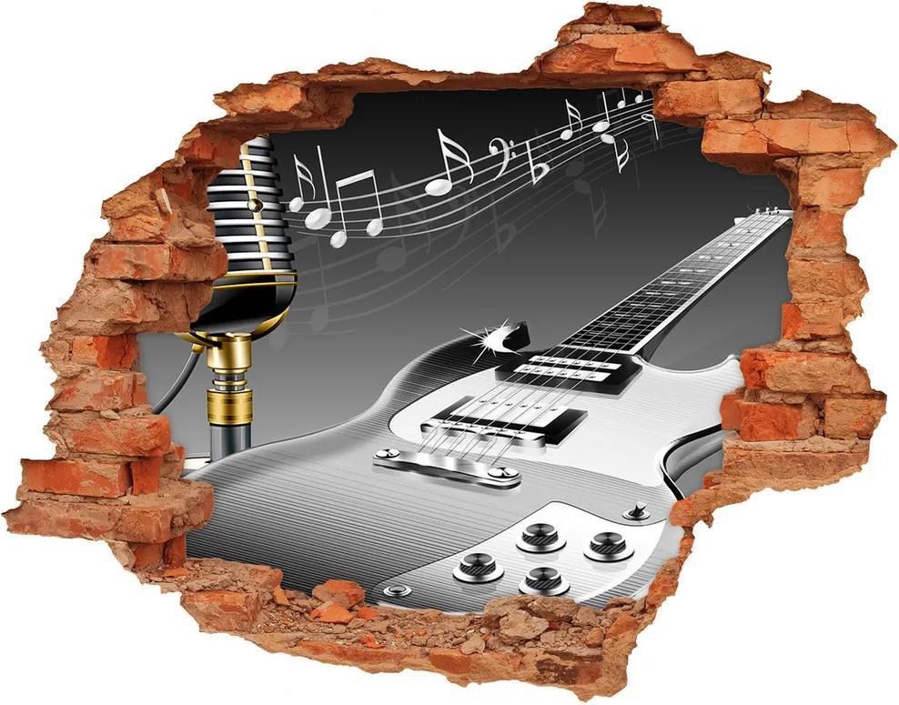Fototapet 3D gaură în perete Chitară și microfon