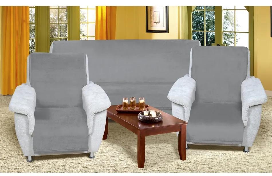 Cuverturi de canapea şi fotolii Korall micro, gri, 150 x 200 cm, 2 buc. 65 x 150 cm