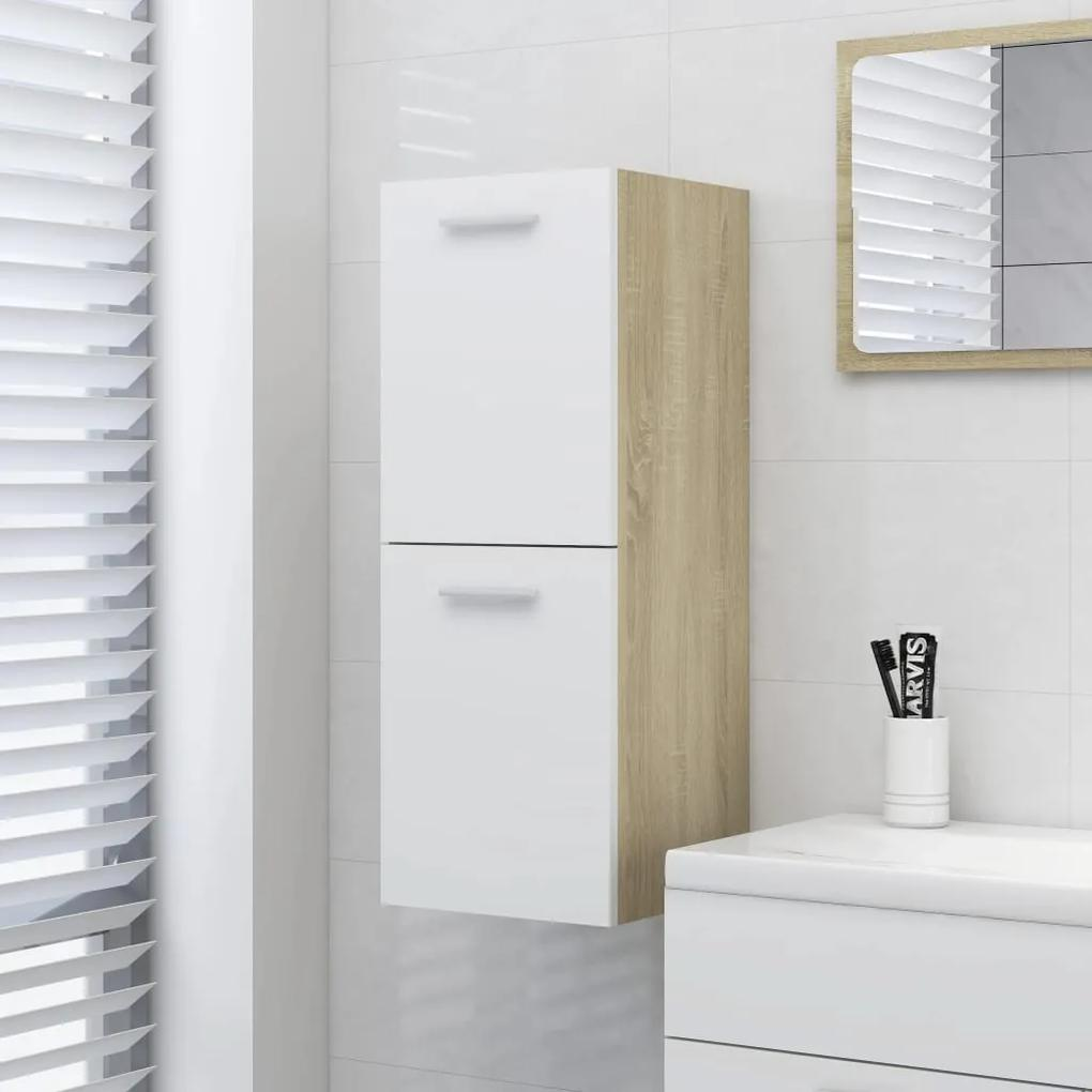 804993 vidaXL Dulap de baie, alb și stejar sonoma, 30x30x80 cm, PAL