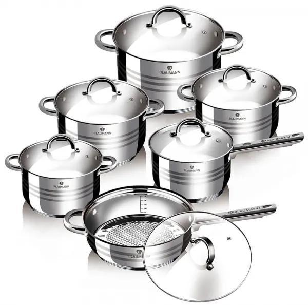 Set oale si tigai otel inoxidabil (12 piese) Jumbo Gourmet Line Blaumann BL 1410