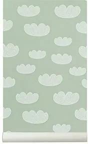 Tapet Mint cu Nori - Textil Mint latime(53cm) x lungime(1005cm)