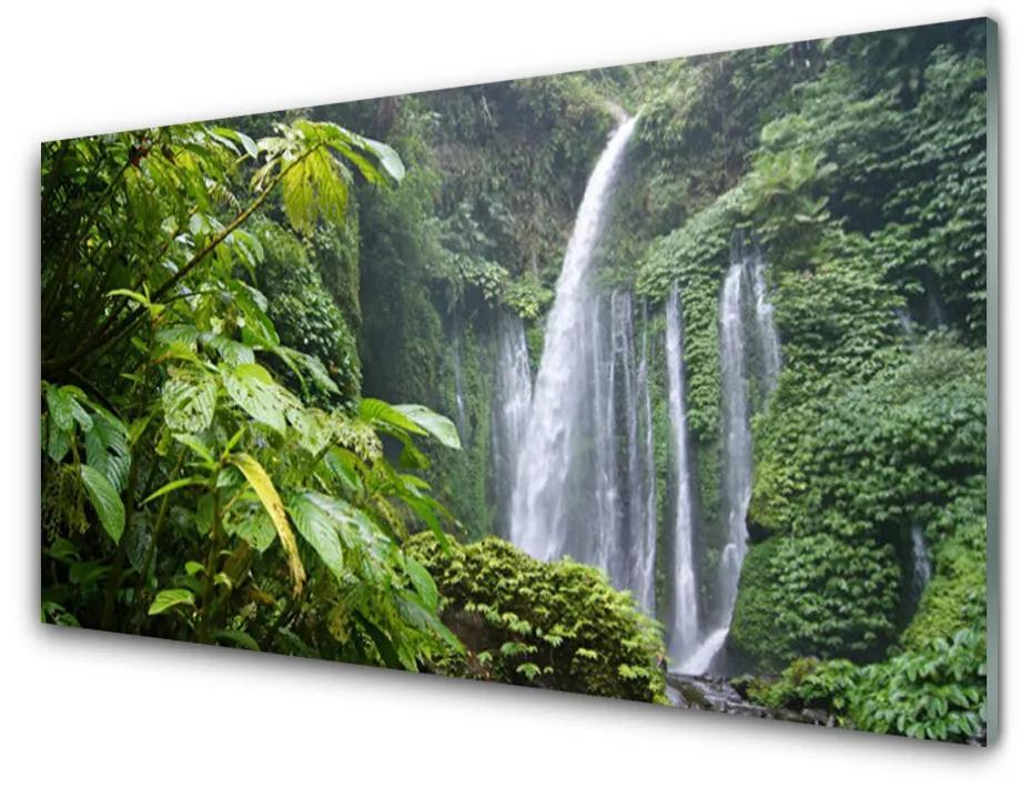 Tablou pe sticla acrilica Cascada Natura Verde Alb Gri