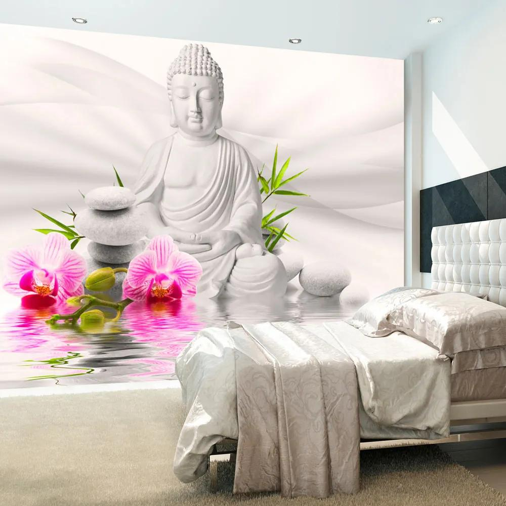 Bimago Fototapet - Buddha and Orchids 400x280 cm