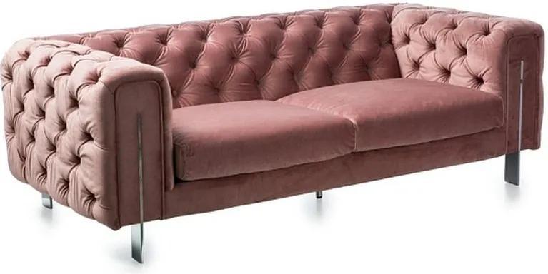Canapea roz din catifea si otel 200 cm Aviano Signal Meble