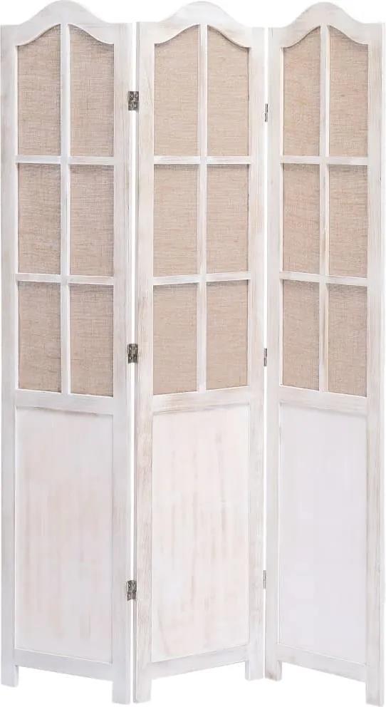 Paravan de camera cu 3 panouri, alb, 105 x 165 cm, textil
