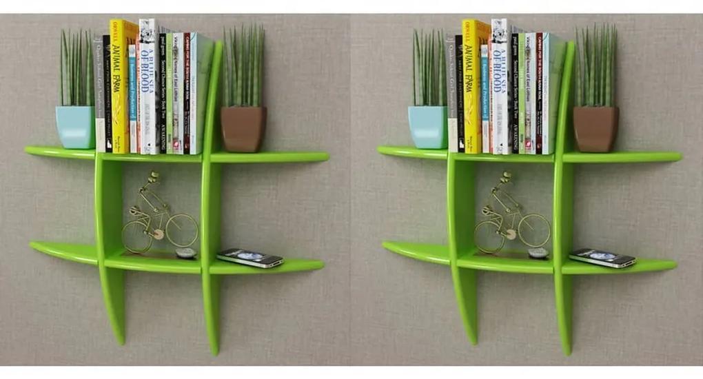 275995 vidaXL Rafturi de perete, 2 buc., verde