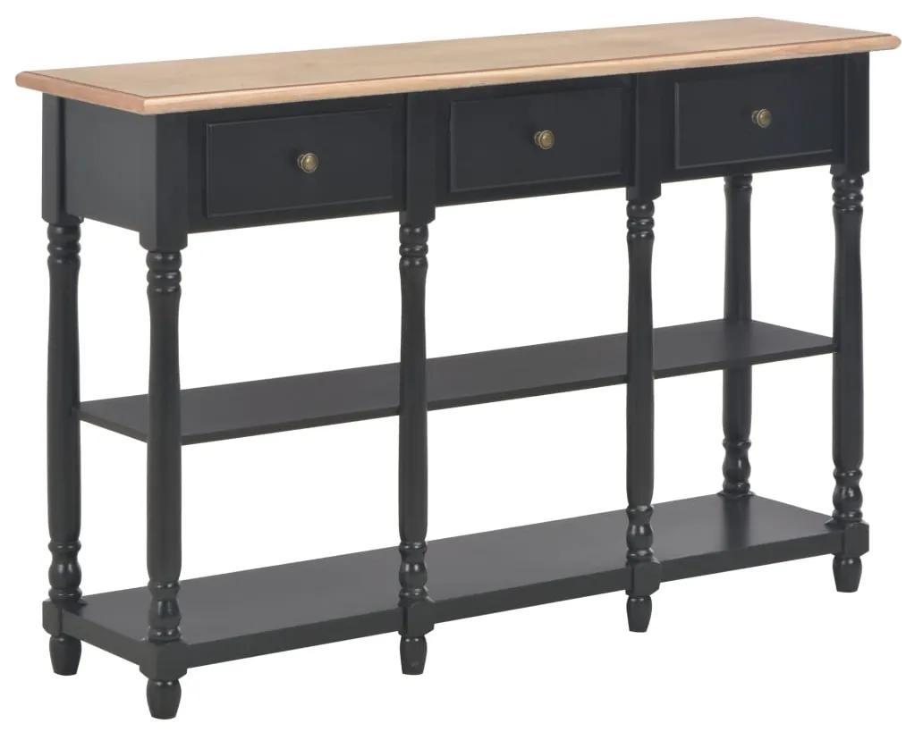 280018 vidaXL Masă consolă, negru, 120 x 30 x 76 cm, MDF