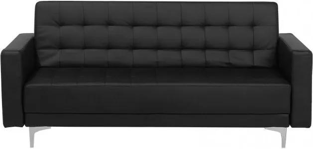 Canapea extensibila Aberdeen, piele ecologica, neagra, 83 x 186 x 88 cm