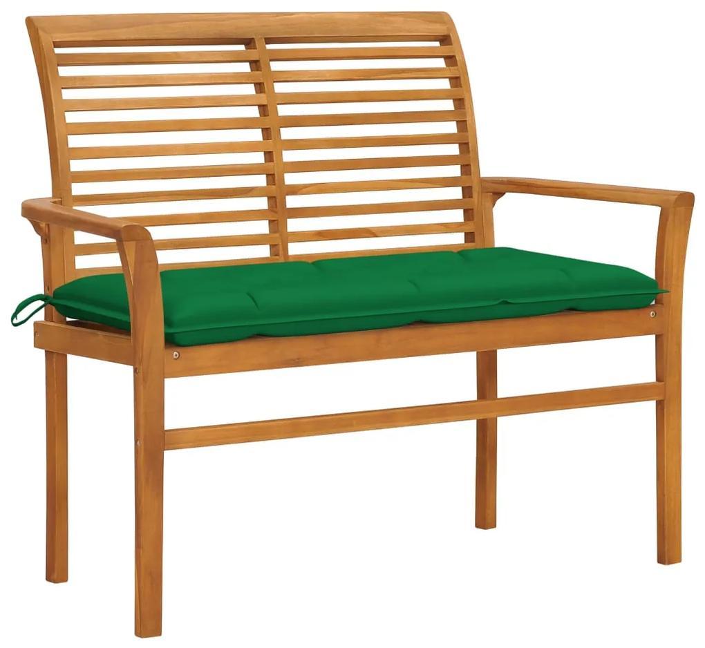 3062669 vidaXL Bancă de grădină, cu pernă verde, 112 cm, lemn masiv de tec