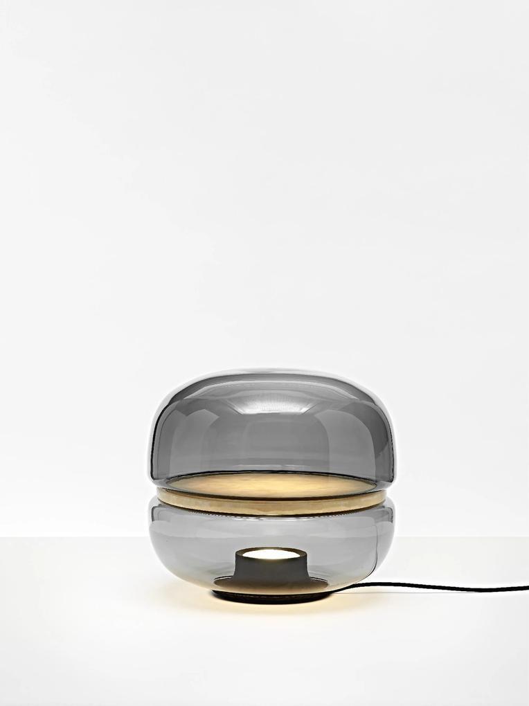 Macaron - Lampă de masă gri fumuriu din sticlă