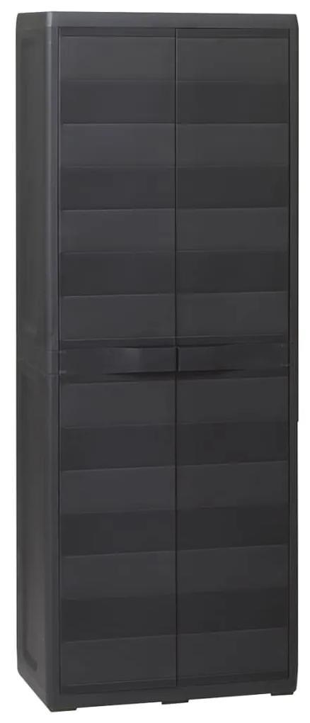 43702 vidaXL Dulap de depozitare pentru grădină, cu 3 rafturi, negru
