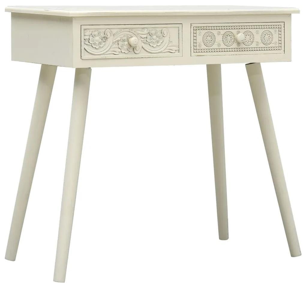 285752 vidaXL Masă consolă cu 2 sertare sculptate, gri, 80x40x77,8 cm, lemn