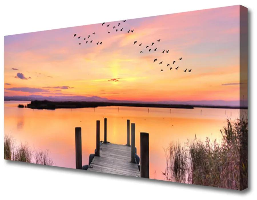Tablou pe panza canvas Marea Podul Peisaj Galben Roz Gri
