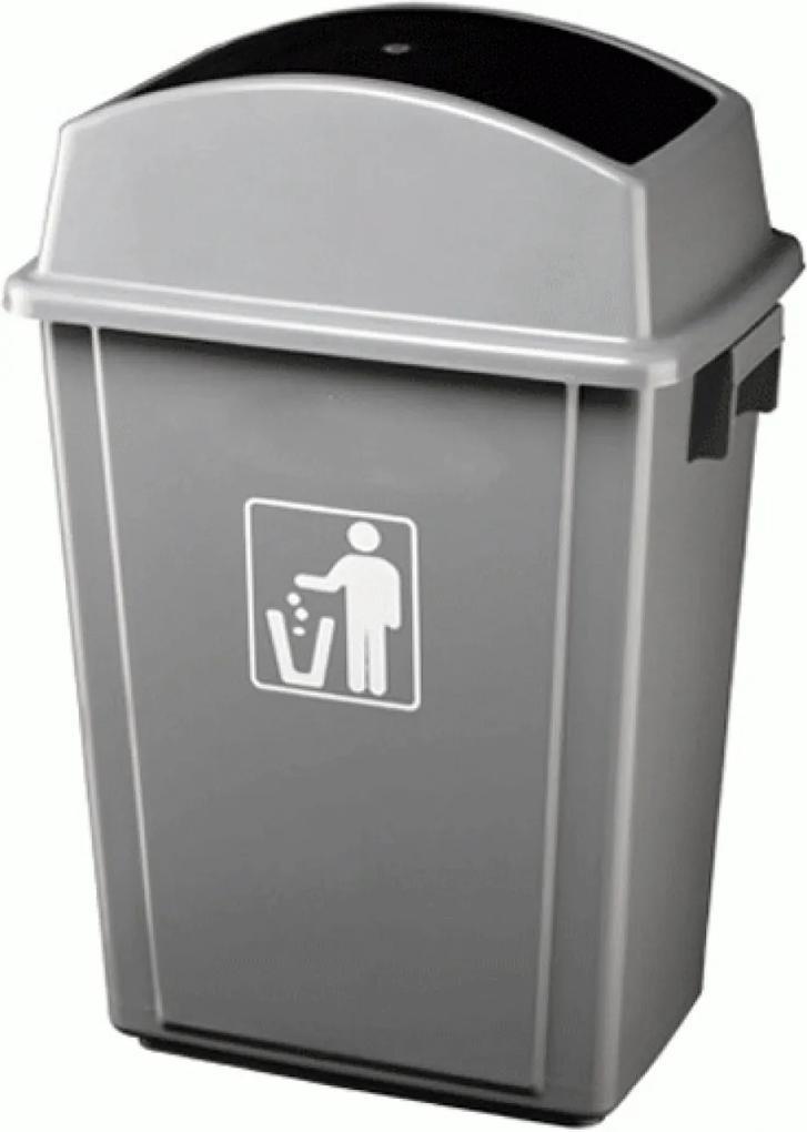 Cos PROFI pentru gunoi cu capac batant Icikala 0114154 40L 41x28x60cm Gri