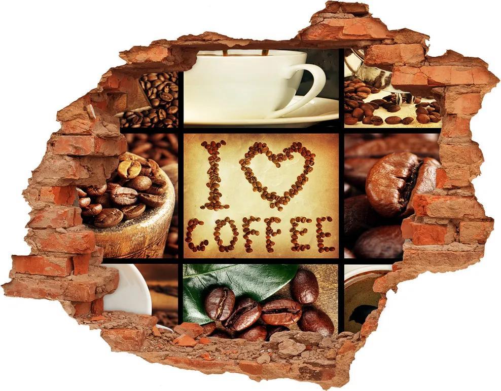 Nálepka 3D diera betón Káva koláž