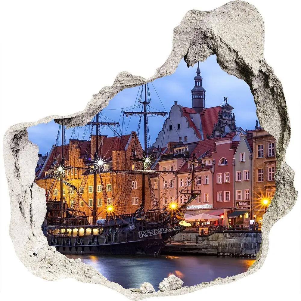 Fototapet 3D gaură în perete Polonia Gdańsk