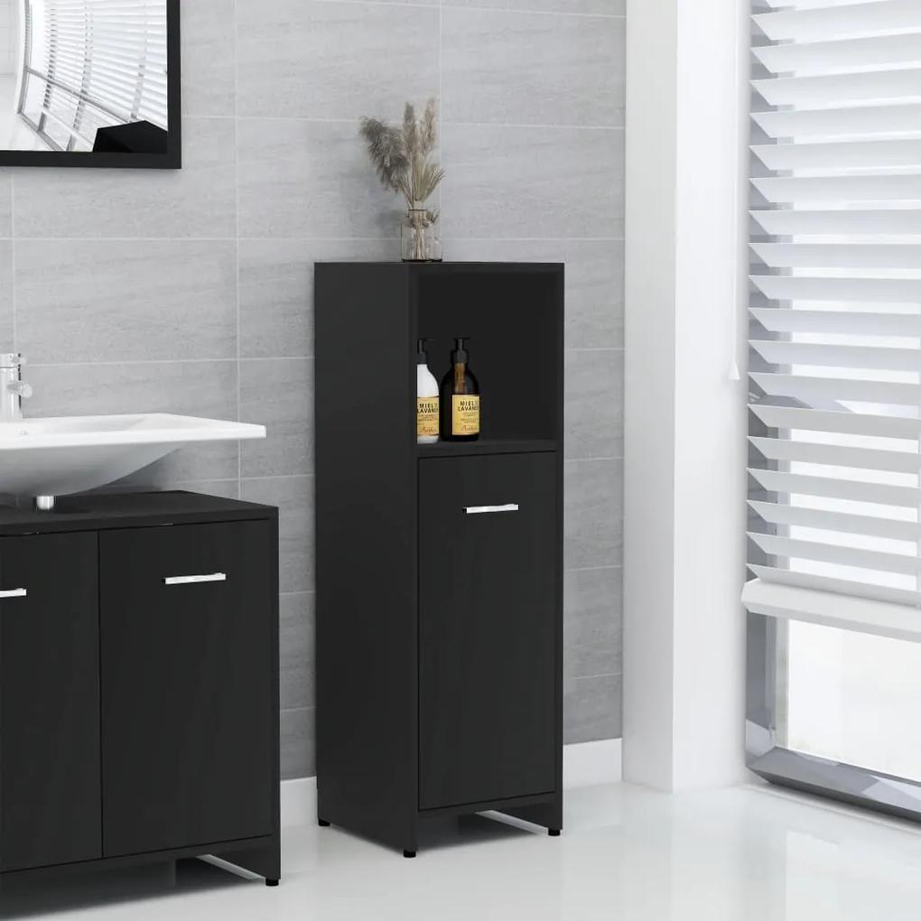802589 vidaXL Dulap de baie, negru, 30 x 30 x 95 cm, PAL