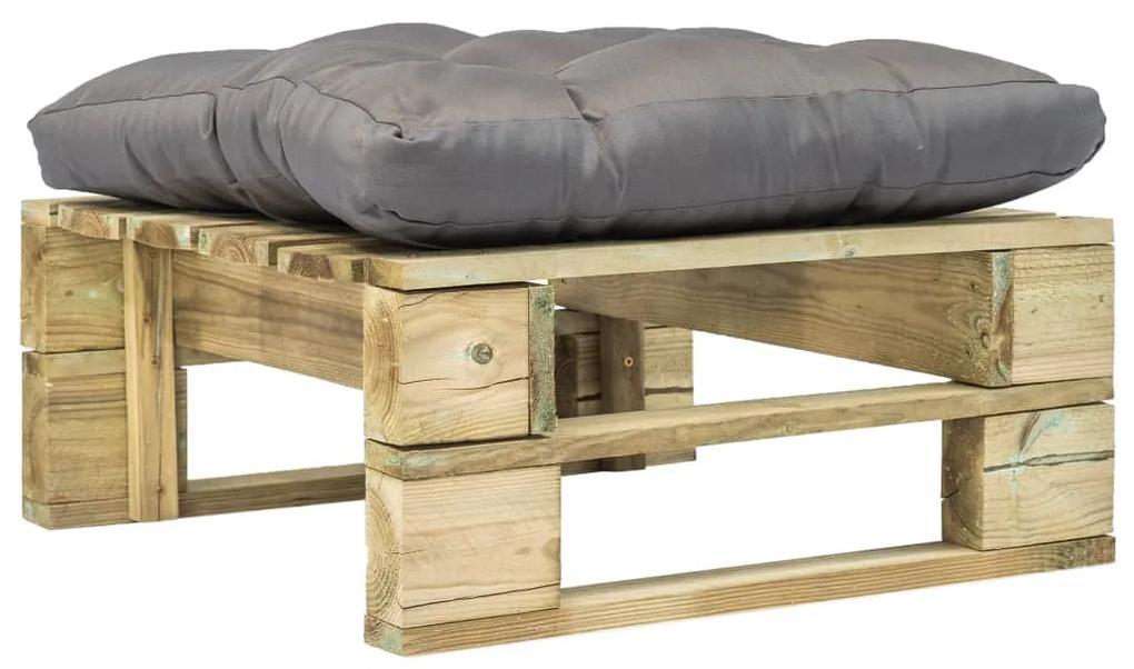 275279 vidaXL Taburet de grădină din paleți cu pernă gri, lemn verde
