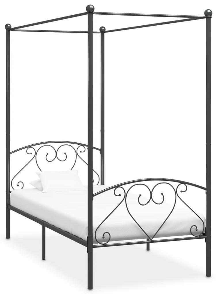 284441 vidaXL Cadru de pat cu baldachin, gri, 100 x 200 cm, metal