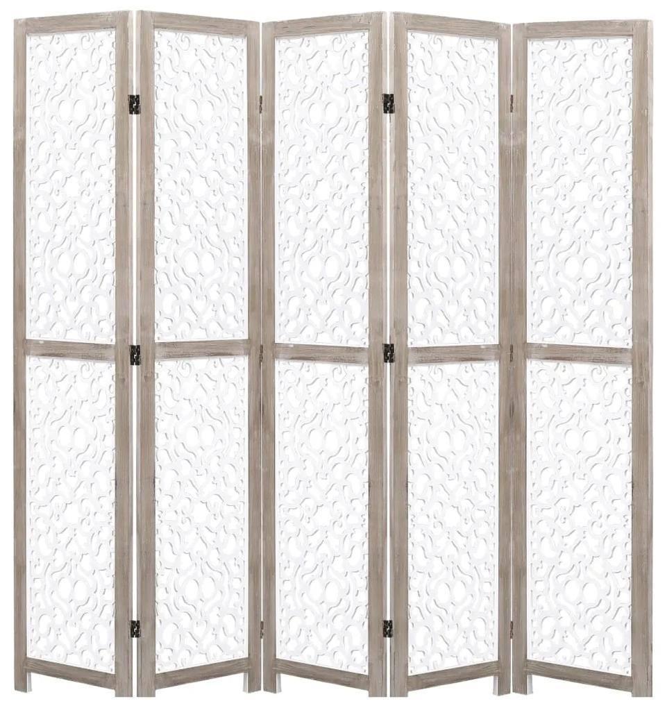 284197 vidaXL Paravan de cameră cu 5 panouri, alb, 175 x165 cm, lemn masiv