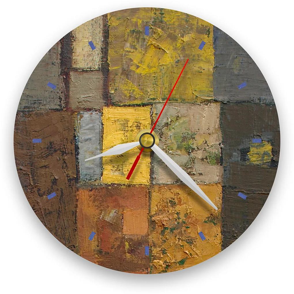 Ceas de perete - Abstract, labirint cu verde 21 cm, lemn