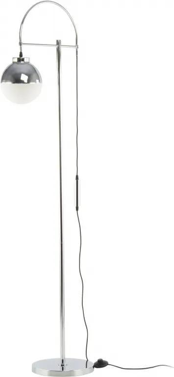 Lampadar din sticla/fier Lavina alb/ argintiu, un bec