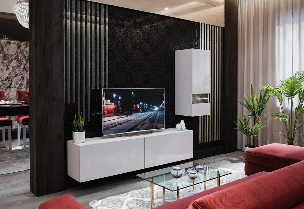 Expedo Mobilă sufragerie ELPASO 15 + LED, alb/alb luciu