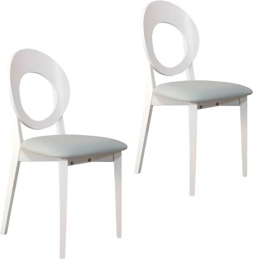 Set 2 scaune dining din lemn de fag Cosmo, Alb/Melva 70
