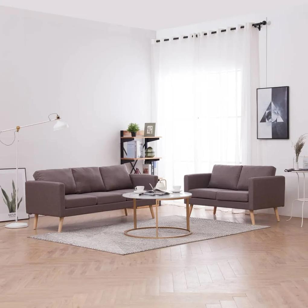 276858 vidaXL Set de canapele, 2 piese, gri taupe, material textil