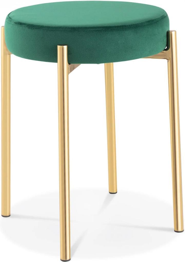 Taburet JACK Verde din Catifea si Metal 35cm OPJET PARIS - Catifea Verde Diametru (35cm) x Inaltime (48cm)