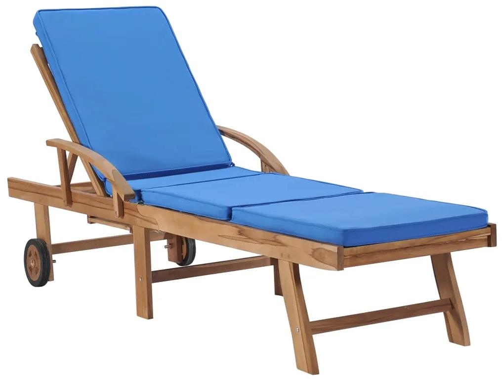 48025 vidaXL Șezlong cu pernă, albastru, lemn masiv de tec