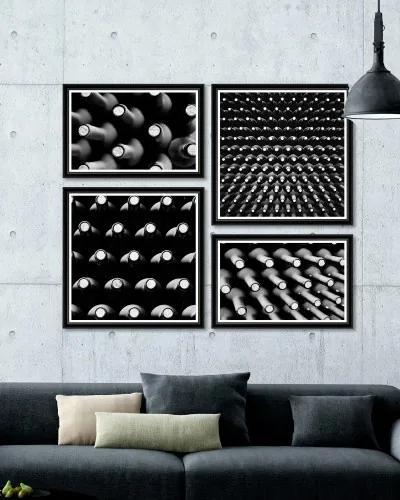 Tablou 4 piese Framed Art Wine Bottles