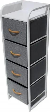 Comoda metalica cu 4 sertare,material textil,31x29x99 cm,gri