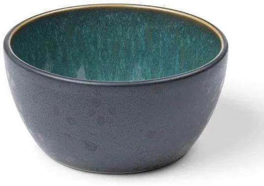 Bol Ceramic Negru cu Interior Verde - Ceramica Verde Diametru(10cm) x Inaltime(5cm)