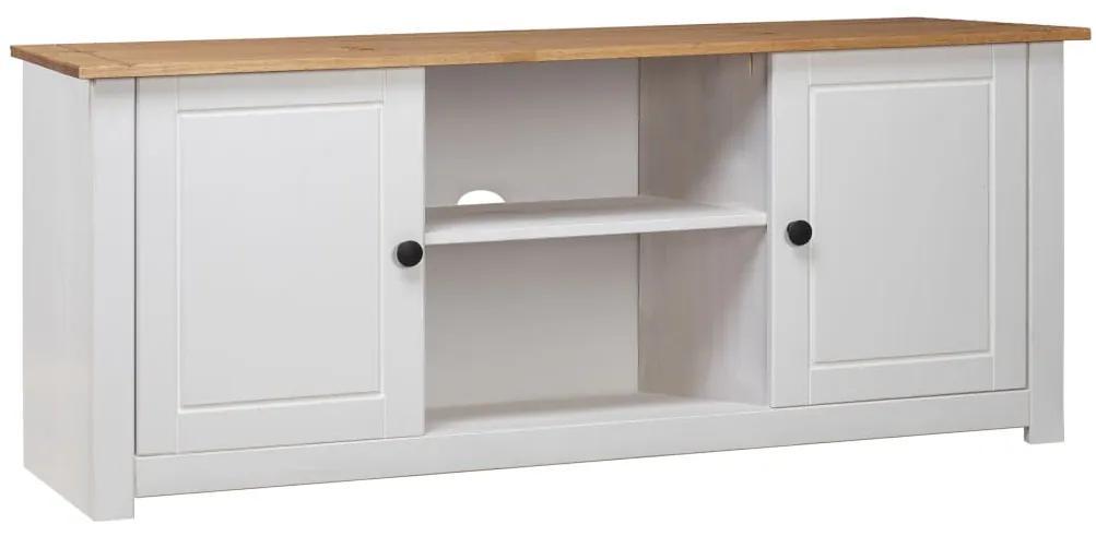 282672 vidaXL Comodă TV, alb, 120x40x50 cm, lemn masiv de pin, gama Panama